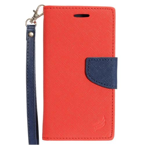 Insten Flip Leather Fabric Case Lanyard w/stand/card holder For Samsung Galaxy On5, Red/Dark blue
