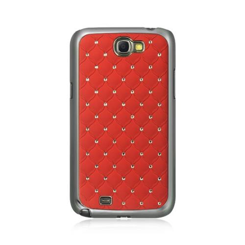 Insten Fish Scale Hard Rubberized Case w/Diamond For Samsung Galaxy Note II, Red