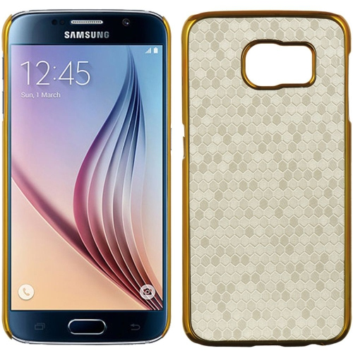 Insten Honeycomb Hard Rubberized Case For Samsung Galaxy S6, White/Gold