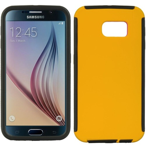 Insten Fitted Hard Shell Case for Samsung Galaxy S6 - Yellow;Black