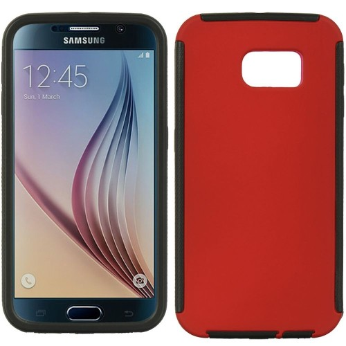 Insten Wrap Up Rubber Case w/Installed For Samsung Galaxy S6, Red/Black