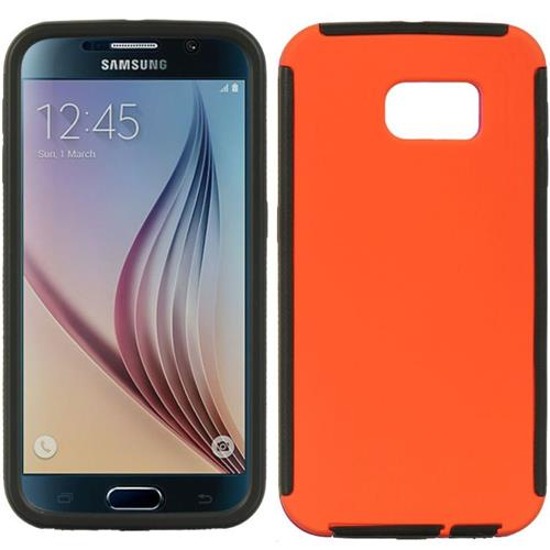 Insten Fitted Soft Shell Case for Samsung Galaxy S6 - Black;Orange