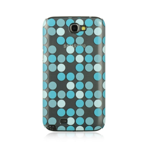 Insten Polka Dots Hard Rubber Case For Samsung Galaxy Note II, Blue