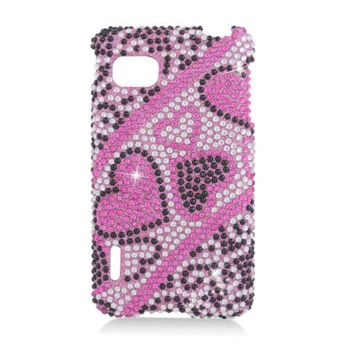 Insten Hearts Hard Rhinestone Cover Case For LG Optimus F3 LS720, Hot Pink