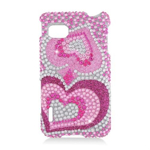 Insten Hearts Hard Diamante Cover Case For LG Optimus F3 LS720, Hot Pink