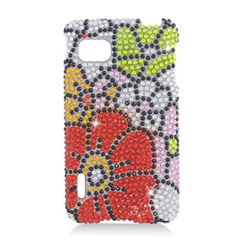 Insten Flowers Hard Rhinestone Cover Case For LG Optimus F3 LS720, Red/Green