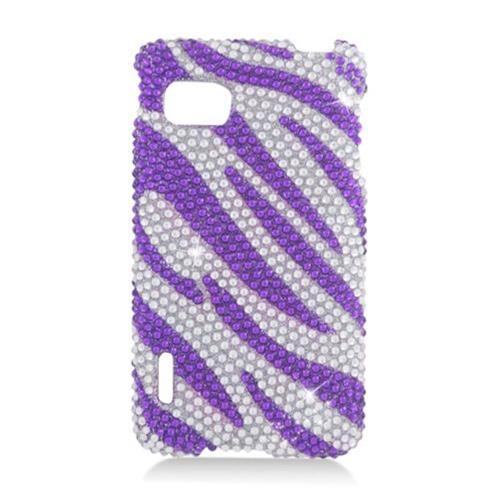 Insten Zebra Hard Diamante Cover Case For LG Optimus F3 LS720, Purple/Silver