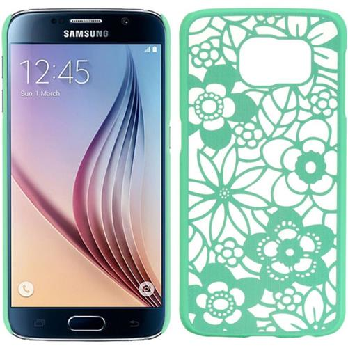 Insten Leaf Hard Plastic Cover Case For Samsung Galaxy S6, Green/White