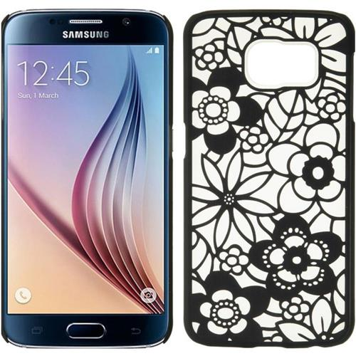 Insten Leaf Hard Plastic Case For Samsung Galaxy S6, Black/White