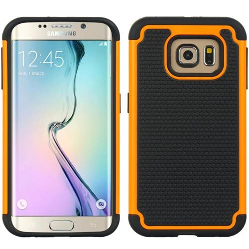 Insten Dots Hard Hybrid TPU Cover Case For Samsung Galaxy S6 Edge, Black/Orange