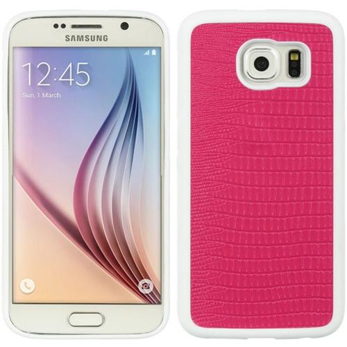 Insten Crocodile TPU Skin Case For Samsung Galaxy S6, Hot Pink/White
