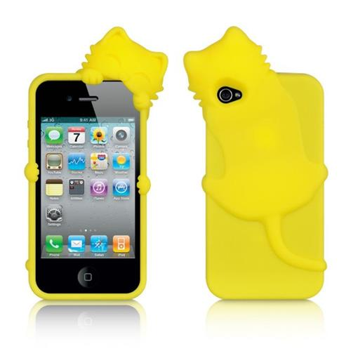 Insten Cat Silicone 3D Rubber Case For Apple iPhone 4/4S, Yellow