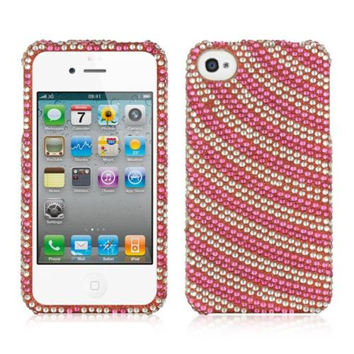 Insten Rainbow Swirl Hard Diamond Case For Apple iPhone 4/4S, Hot Pink