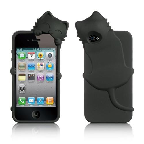 Insten Cat Silicone Rubber Case w/Diamond For Apple iPhone 4/4S, Black