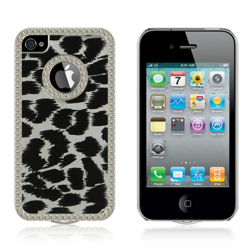 Insten Leopard Hard Rubber Coated Cover Case w/Diamond For Apple iPhone 4/4S, Silver