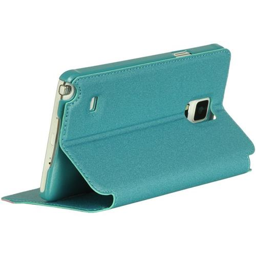 Insten Folio Leather Fabric Case w/stand/card holder For Samsung Galaxy Note 4, Teal/Pink