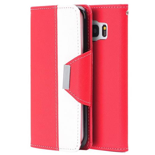 Insten Book-Style Leather Fabric Case Lanyard w/stand/card holder For Samsung Galaxy S7, Red/White