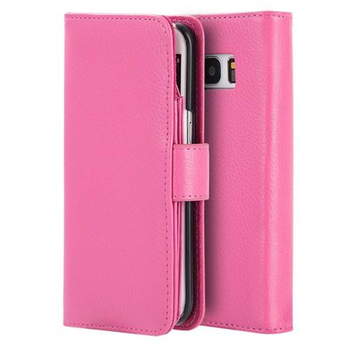 Insten Folio Leather Fabric Case w/stand/card holder/Photo Display For Samsung Galaxy S7, Hot Pink