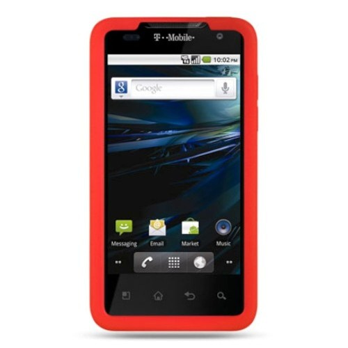 Insten Skin Rubber Cover Case For LG G2x, Red