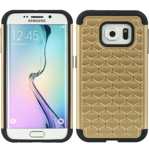 Insten Fitted Soft Shell Case for Samsung Galaxy S6 Edge - Gold;Black