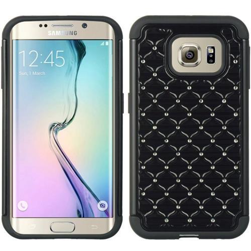 Insten Hard Hybrid TPU Cover Case w/Diamond For Samsung Galaxy S6 Edge, Black