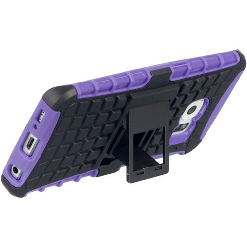 Insten Hard Dual Layer TPU Case w/stand For Samsung Galaxy S6 Edge, Black/Purple