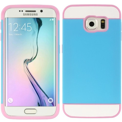 Insten Hard TPU Case w/card slot For Samsung Galaxy S6 Edge, Pink/Blue