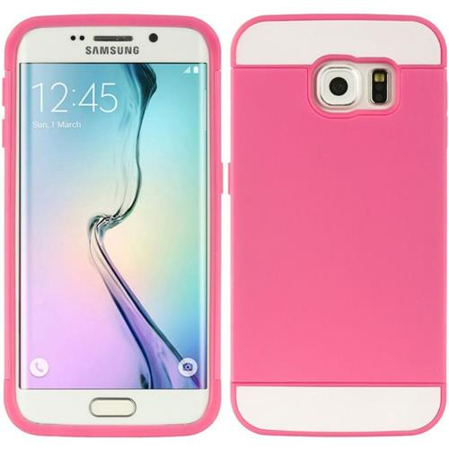 Insten Hard TPU Case w/card holder For Samsung Galaxy S6 Edge, Hot Pink