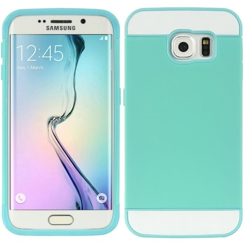 Insten Hard TPU Cover Case w/card slot For Samsung Galaxy S6 Edge, Blue/Teal