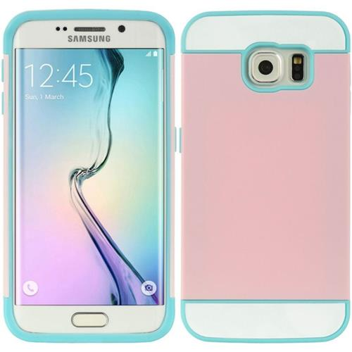 Insten Hard TPU Cover Case w/card holder For Samsung Galaxy S6 Edge, Blue/Pink