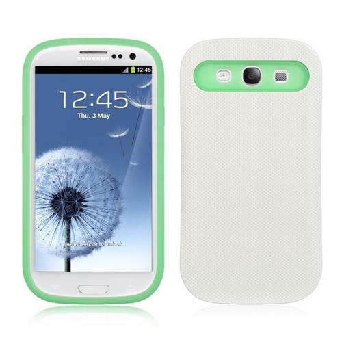 Insten Hard Hybrid TPU Case For Samsung Galaxy S3 I747, White/Green