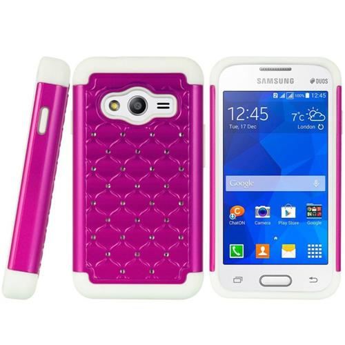 Insten HardRubberized Silicone Case w/Diamond For Samsung Galaxy Ace 4 LTE, Hot Pink/White