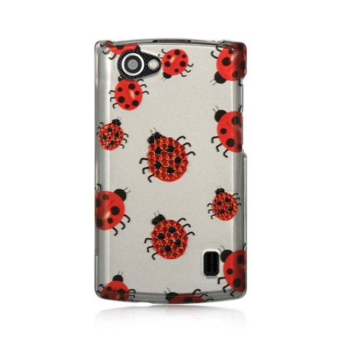 Insten Ladybug Hard Rubberized Case For LG Optimus M+, White/Red