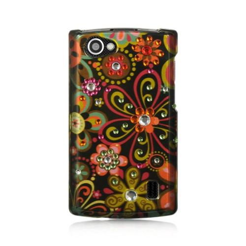 Insten Flowers Hard Cover Case For LG Optimus M+, Brown/Black