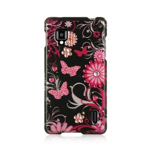 Insten Butterfly Hard Rubberized Case For LG Optimus G LS970 Sprint, Black/Pink