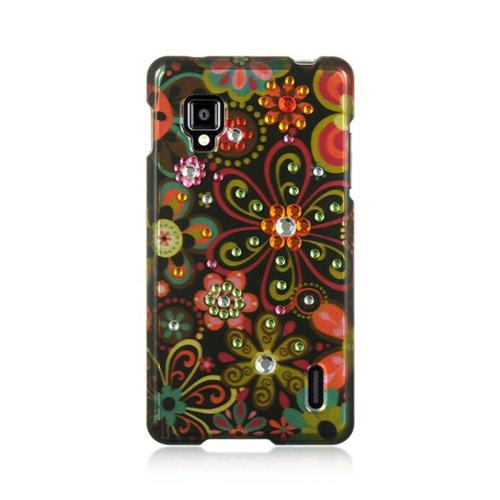 Insten Flowers Hard Rubber Cover Case For LG Optimus G LS970 Sprint, Black/Orange