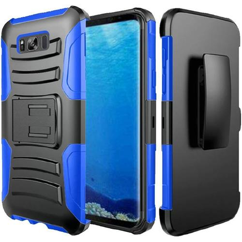 Insten Hard Dual Layer Plastic Silicone Cover Case w/Holster For Samsung Galaxy S8, Black/Blue