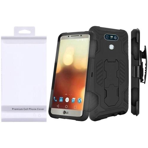 Insten Hard Hybrid Rubber Coated Silicone Case w/stand For LG G6, Black