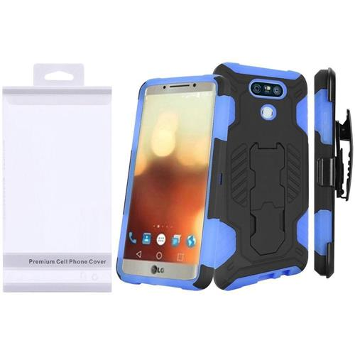 Insten Hard Hybrid Silicone Case w/stand For LG G6, Black/Blue