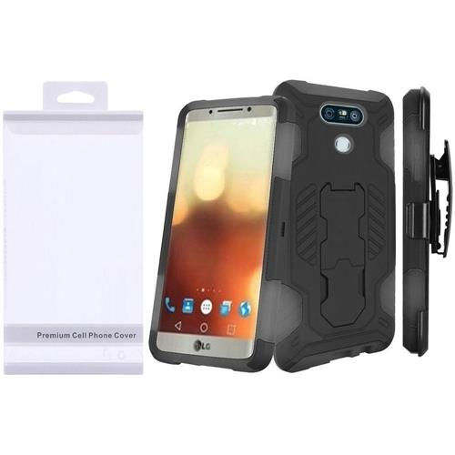 Insten Hard Hybrid Rubberized Silicone Case w/stand For LG G6, Black/Gray