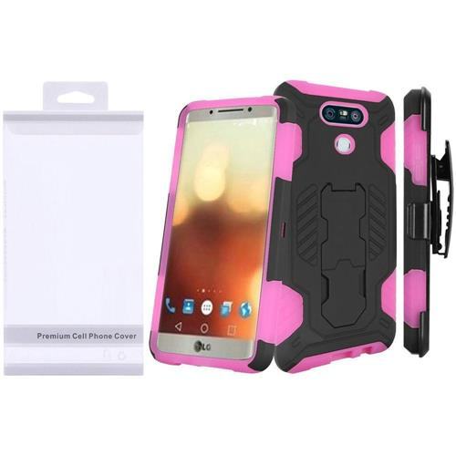Insten Hard Hybrid Silicone Cover Case w/stand For LG G6, Black/Hot Pink
