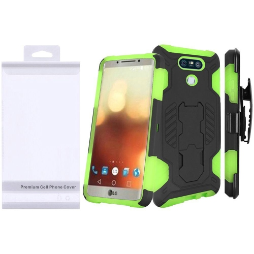 Insten Hard Hybrid Rubberized Silicone Case w/stand For LG G6, Black/Green