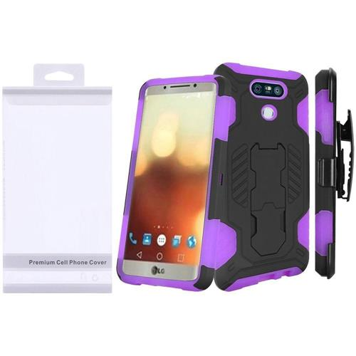 Insten Hard Dual Layer Rubber Silicone Case w/stand For LG G6, Black/Purple