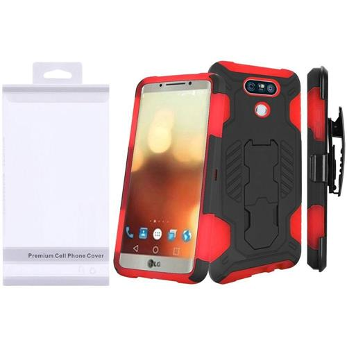 Insten Hard Dual Layer Rubber Coated Silicone Case w/stand For LG G6, Black/Red