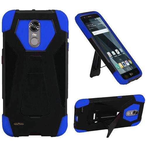 Insten Hard Dual Layer Plastic Silicone Case w/stand For LG Stylo 3/Stylo 3 Plus, Black/Blue