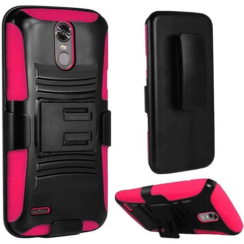 Insten Hard Hybrid Plastic Silicone Case w/Holster For LG Stylo 3/Stylo 3 Plus, Black/Hot Pink