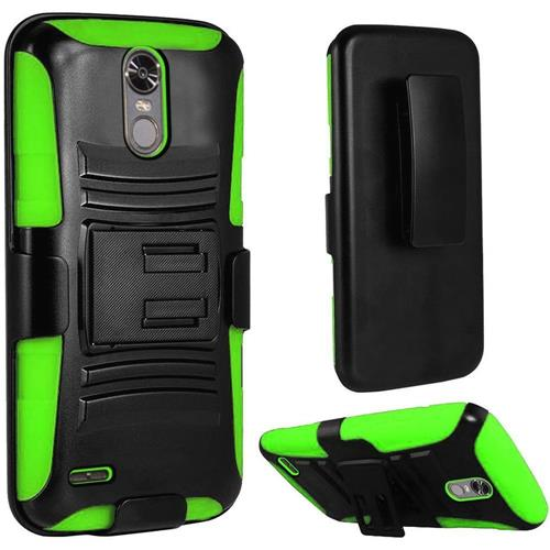 Insten Hard Dual Layer Plastic Silicone Case w/Holster For LG Stylo 3/Stylo 3 Plus, Black/Green
