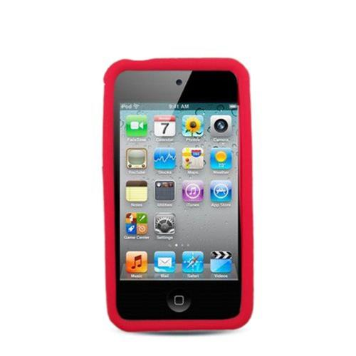 Insten Gel Rubber Cover Case For Apple iPhone 4/4S, Red
