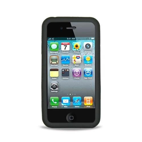 Insten Skin Rubber Cover Case For Apple iPhone 4, Black