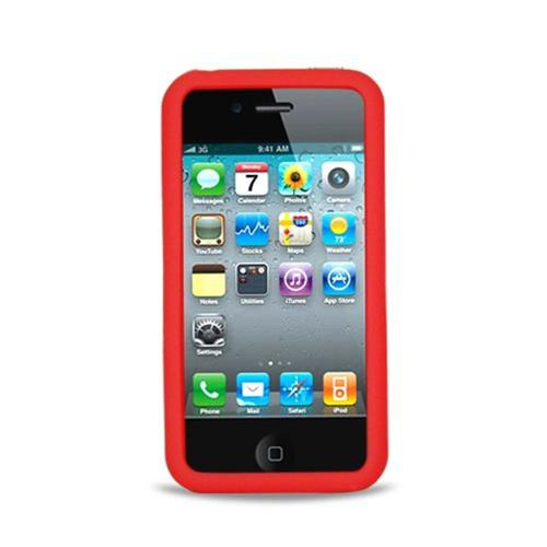 Insten Skin Rubber Cover Case For Apple iPhone 4, Red